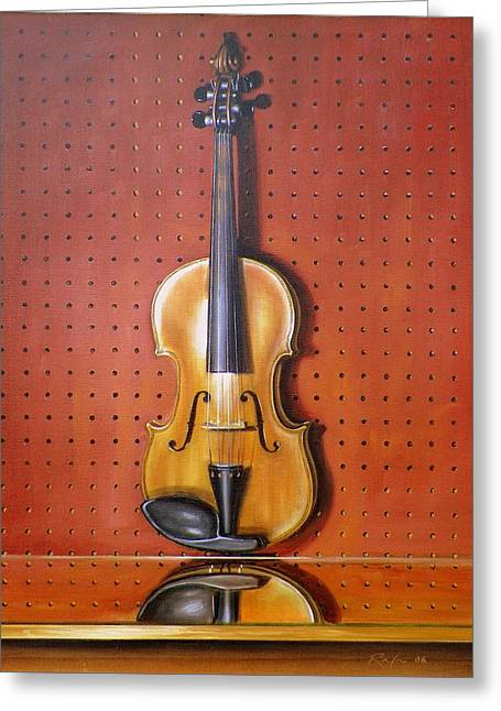Still Life Of Violin Greeting Card by RB McGrath