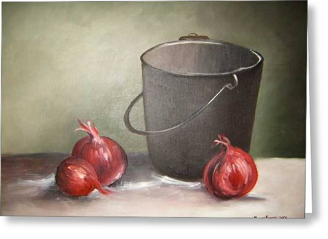Still Life Onions Greeting Card by Nellie Visser