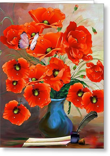 Still Life Poppies Greeting Card