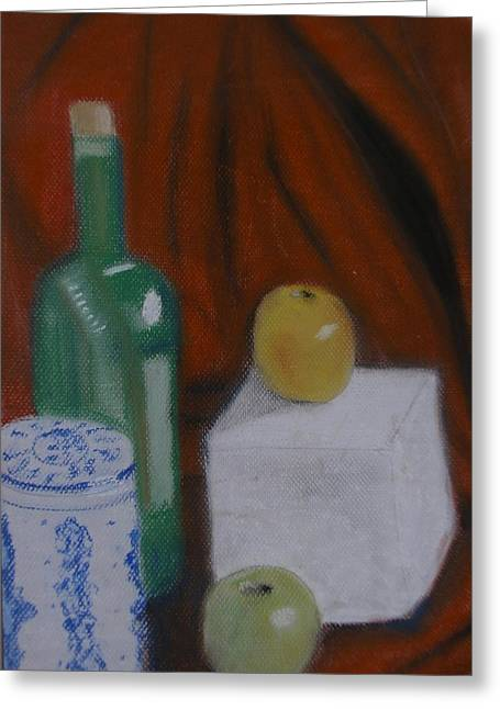Red Wine Bottle Pastels Greeting Cards - Still Life Red Background Greeting Card by Dan Brown