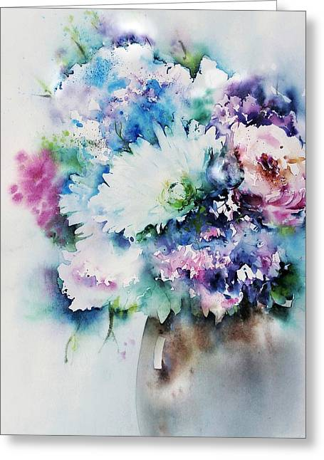 Still Life Rose Bouquet Watercolour Greeting Card