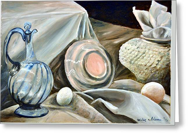 Still Life Study In 2 Color Greeting Card by Walter Idema