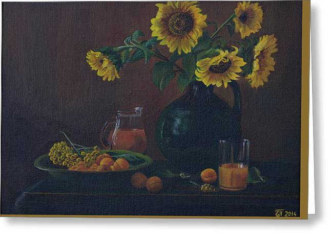 Still Life. Sunflowers In The Jug. Greeting Card by Elena Pavlova