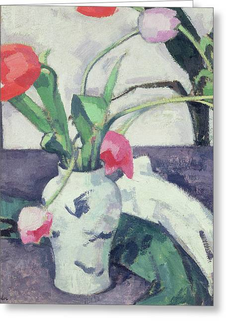 Still Life  Tulips In A Chinese Vase Greeting Card