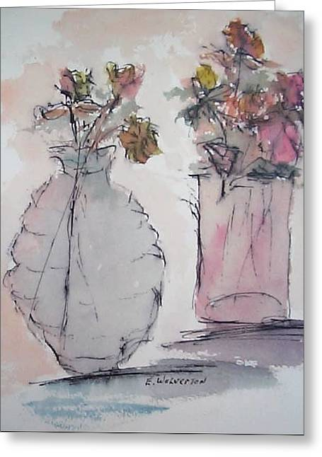 Still Life- Vase With Flowers Greeting Card by Edward Wolverton