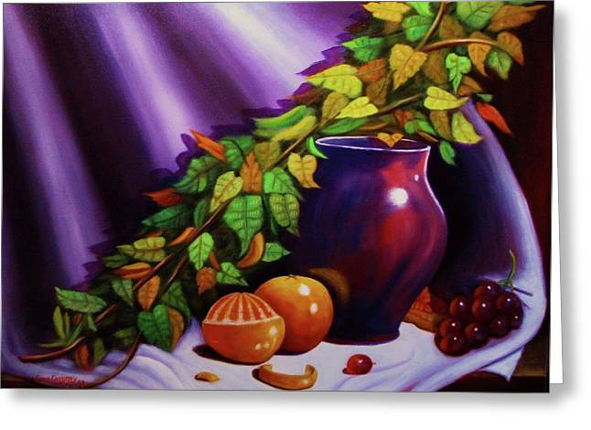 Still Life W/purple Vase Greeting Card