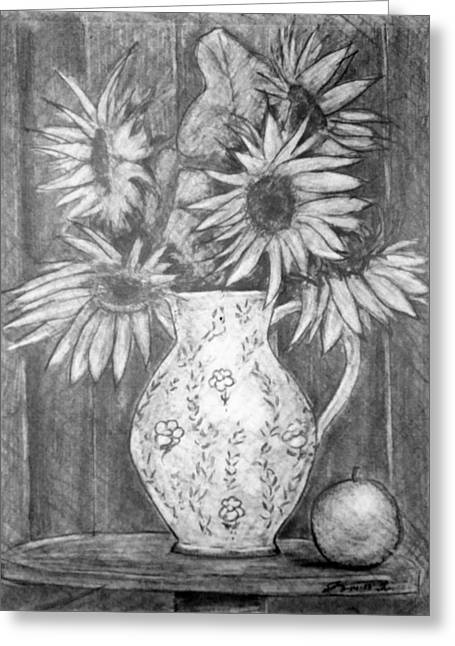 Still Life - White Pitcher With 5 Sunflowers Greeting Card by Jose A Gonzalez Jr