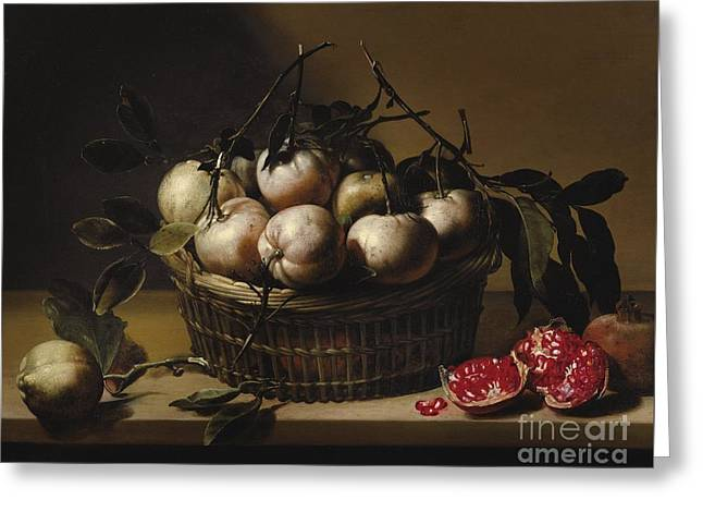Still Life With A Basket Greeting Card