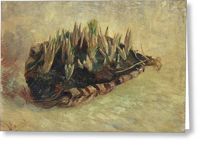 Still Life With A Basket Of Crocuses, 1887 Greeting Card