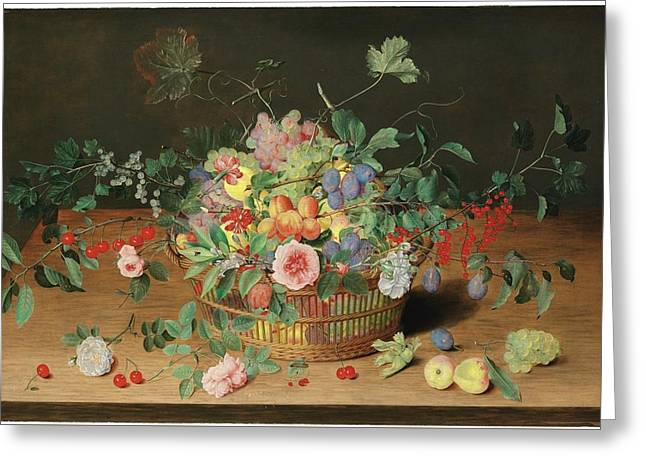 Still Life With A Basket Of Flowers And Fruit Greeting Card