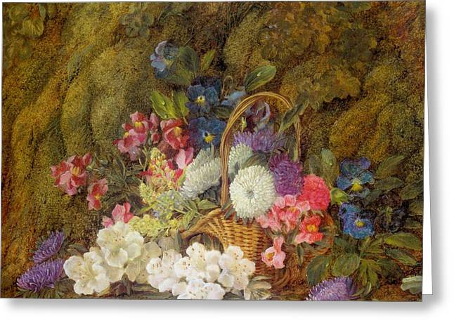 Still Life With A Basket Of Flowers Greeting Card
