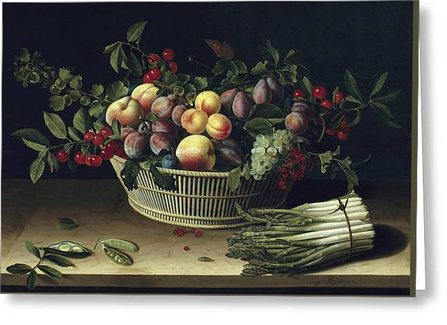 Still Life With A Basket Of Fruit And A Bunch Of Asparagus Greeting Card