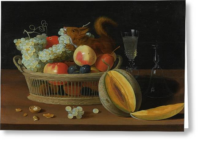 Still Life With A Basket Of Fruit And A Squirrel Greeting Card