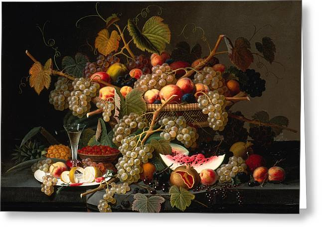 Still Life With A Basket Of Fruit Greeting Card