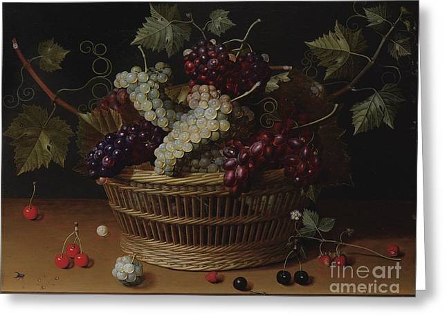 Still Life With A Basket Of Grapes Greeting Card