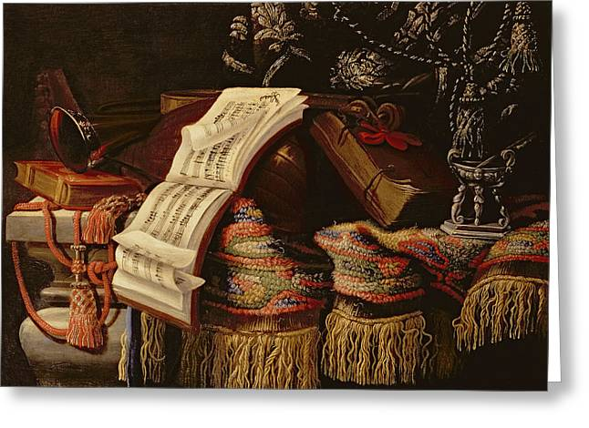 Still Life With A Book Of Sheet Music Greeting Card by Francesco Fieravino