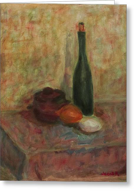 Still Life With A Bottle Of Wine Greeting Card by Jacob R
