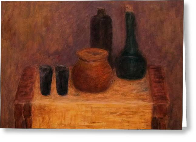 Still Life With A Bottles Greeting Card by Jacob R