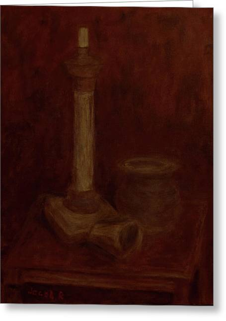 Still Life With A Chandelier, Pot And Cup Greeting Card by Jacob R