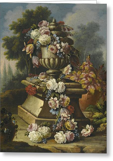 Still Life With A Garland Of Roses Tulips Carnations And Other Flowers Draped Around A Stone Urn In  Greeting Card