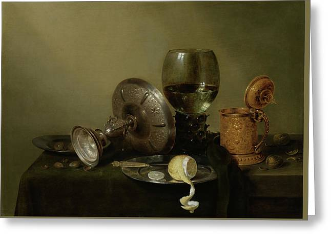 Still Life With A Gilded Beer Tankard Greeting Card by Willem Claesz Heda