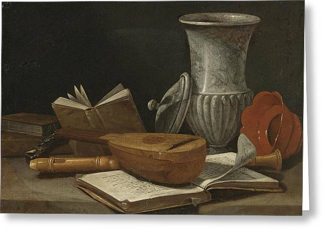 Still Life With A Lute A Recorder Books A Marble Covered Vase And Other Objects Resting On A Table Greeting Card