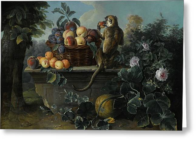 Still Life With A Monkey And A Basket Of Fruit Resting On A Ledge Greeting Card