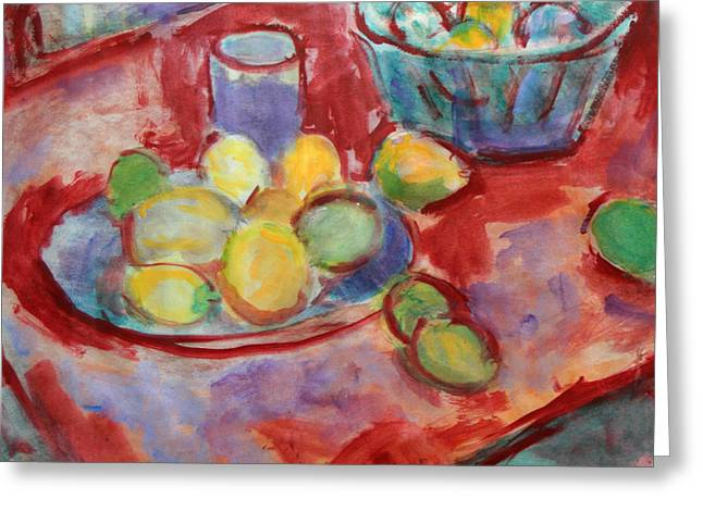 Still Life With A Red Cloth Greeting Card by Andrey Semionov