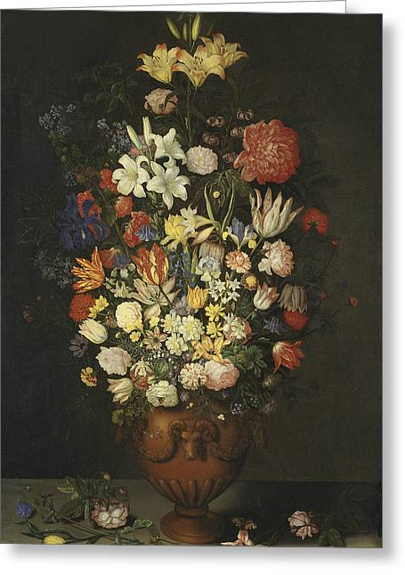Still Life With A Vase Of Flowers Greeting Card