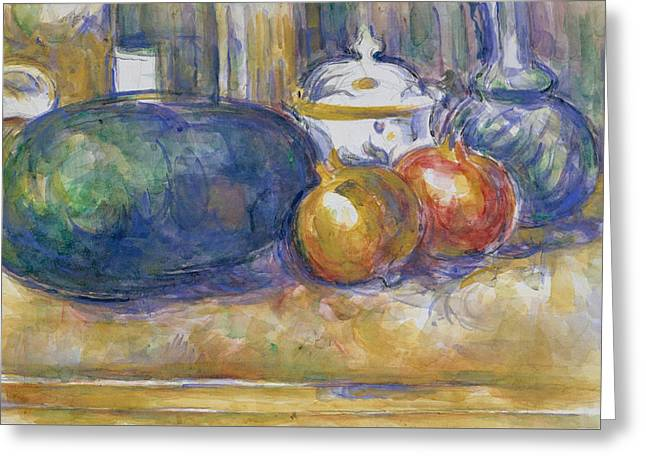 Still Life With A Watermelon And Pomegranates Greeting Card
