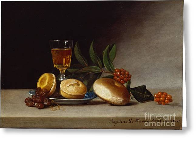 Still Life With A Wine Glass Greeting Card by Raphaelle Peale