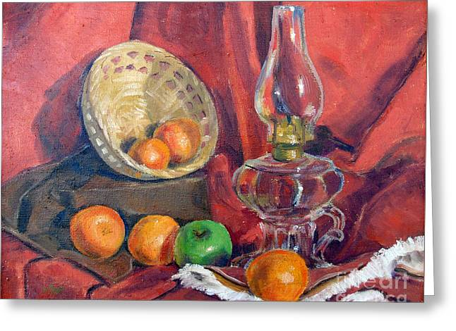 Still Life With An Oil Lamp Greeting Card