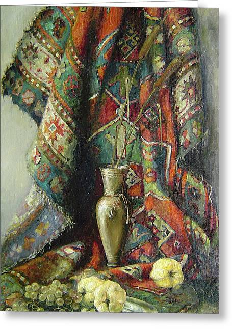 Greeting Card featuring the painting Still-life With An Old Rug by Tigran Ghulyan