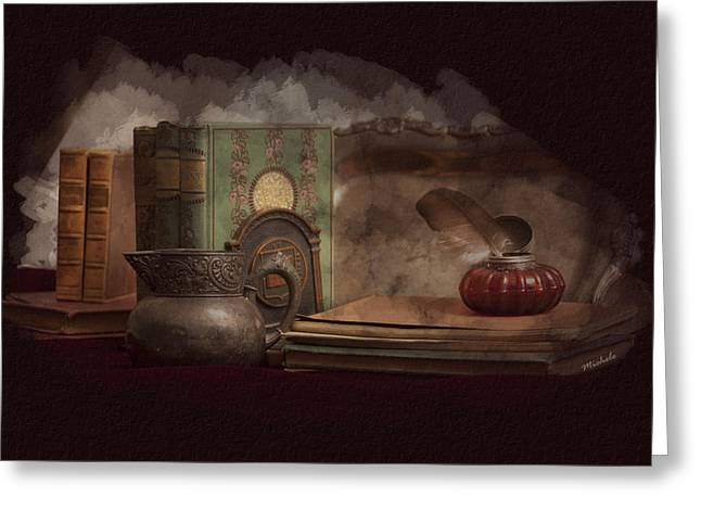 Still Life With Antique Books, Silver Pitcher And Inkwell Greeting Card by Michele Loftus