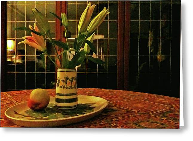 Greeting Card featuring the photograph Still Life With Apple by Anne Kotan