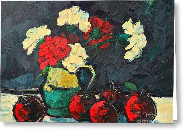 Still Life With Apples And Carnations Greeting Card