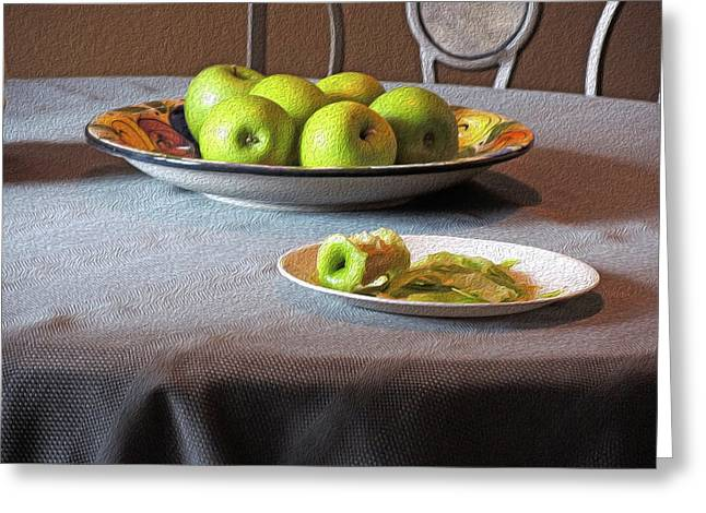 Still Life With Apples And Chair Greeting Card by Lynda Lehmann