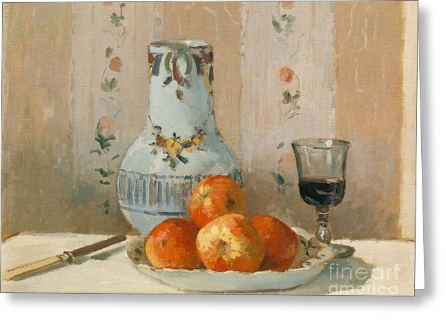 Still Life With Apples And Pitcher, 1872  Greeting Card by Camille Pissarro