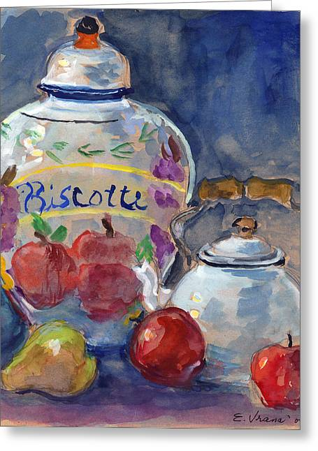 Still Life With Apples And Tea Kettle Greeting Card by Ethel Vrana