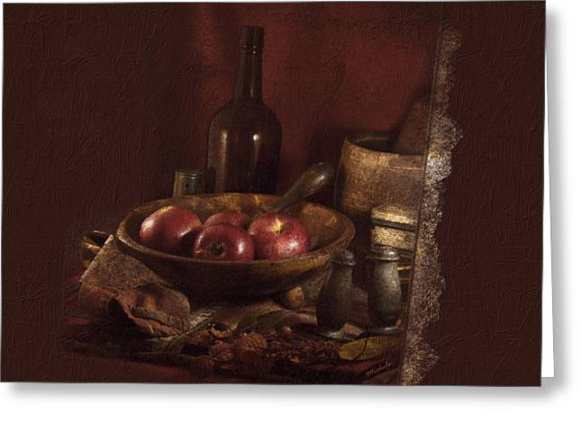 Still Life With Apples, Bottles, Baskets And Shakers. Greeting Card