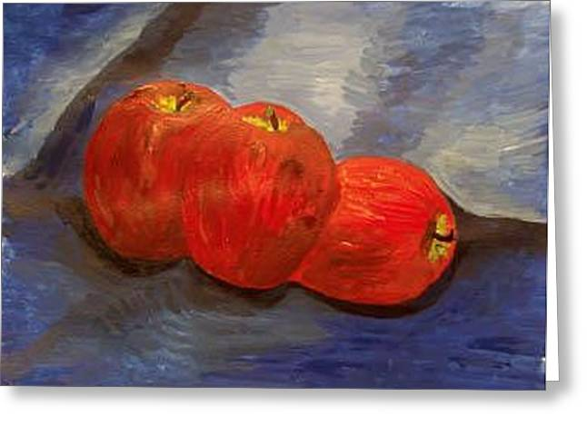 Still Life With Apples Greeting Card by Caroline Lifshey