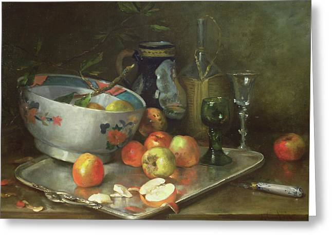 Still Life With Apples Greeting Card by Eugene Henri Cauchois