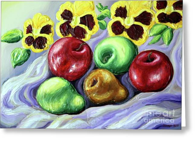Greeting Card featuring the painting Still Life With Apples by Inese Poga
