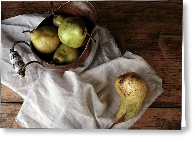 Still-life With Arrangement Of Pears  Greeting Card by Nailia Schwarz