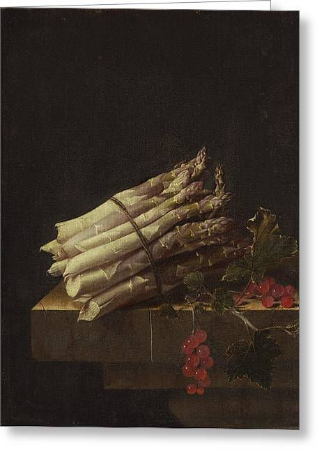 Still Life With Asparagus And Red Currants Greeting Card