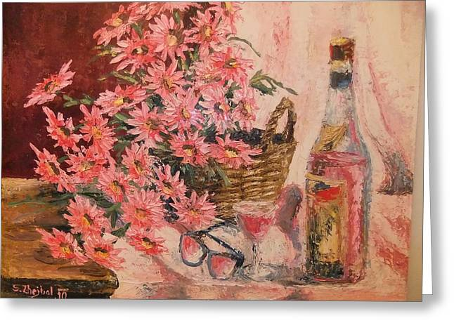 Wine-glass Greeting Cards - Still Life with Asters Greeting Card by Stanislav Zhejbal