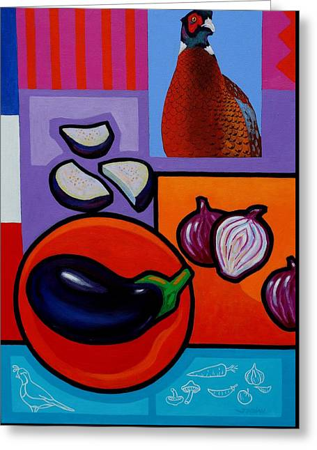 Still Life With Aubergine Greeting Card by John  Nolan