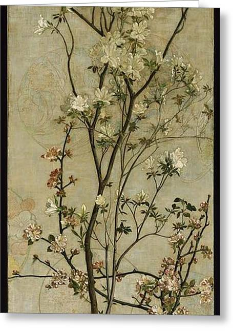 Still Life With Azaleas And Apple Blossoms Greeting Card