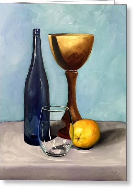 Still Life With Blue Bottle Greeting Card by RB McGrath