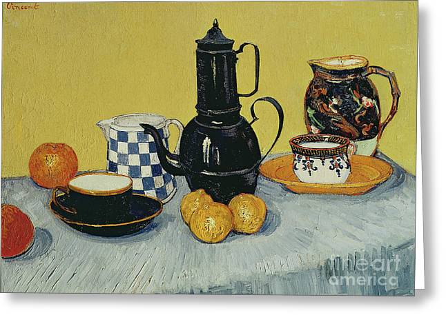 Still Life With Blue Enamel Coffeepot, Earthenware And Fruit, 1888 Greeting Card by Vincent Van Gogh